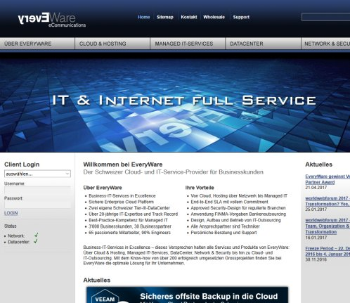 Ihr IT Outsourcing Anbieter (Internet Provider  Managed Hosting  ISP) EveryWare EveryWare AG Öffnungszeit