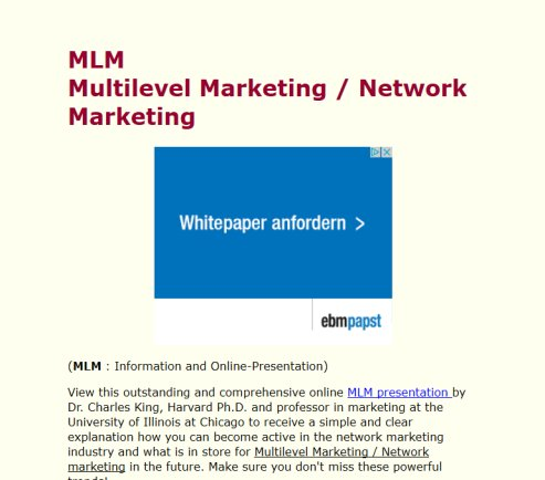 MLM   Network Marketing   Networkmarketing Information  Öffnungszeit