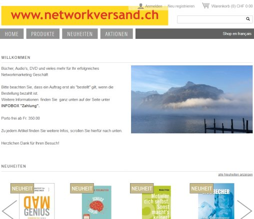 Networkversand  Online Shop  Bücher  CD  DVD  Network Marketing  Öffnungszeit