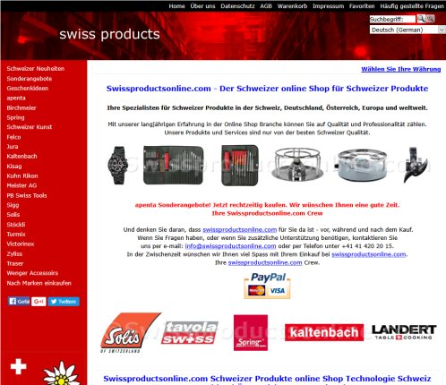 Swissproductsonline.com Swiss Shop online Products shopping Swiss Watches Pocket Army Knifes Switzerland Europe worldwide  Öffnungszeit