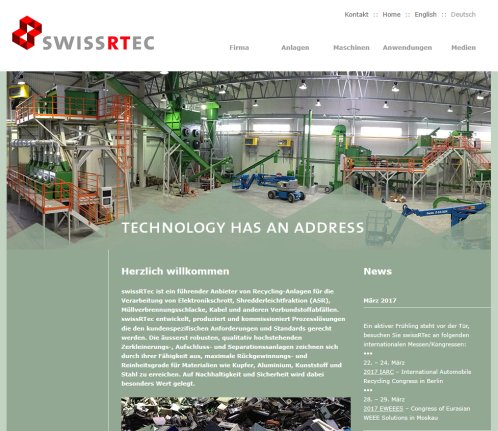 SWISSRTEC AG   TECHNOLOGY HAS AN ADDRESS   RECYCLING   DELAMINATION   REFINING   SHREDDING swissRTec AG Öffnungszeit