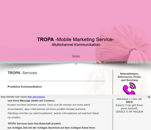 Home   TROPA Services GmbH ? Innovative Mobile Marketing Services TROPA Services GmbH Öffnungszeit