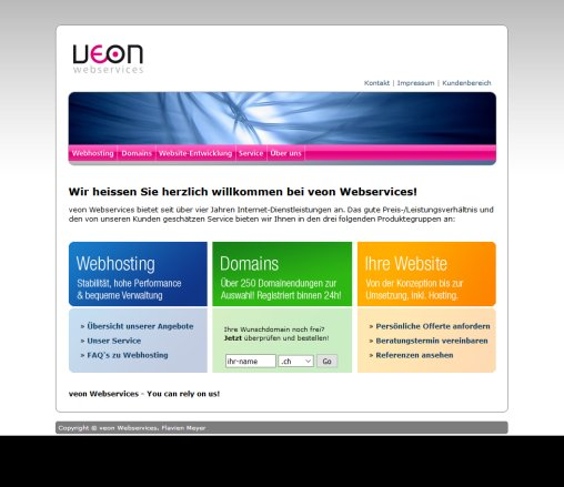 veon Webservices   You can rely on us! (Webhosting  Domains  Website Entwicklung  Webdesign  Webprogramming)  Öffnungszeit